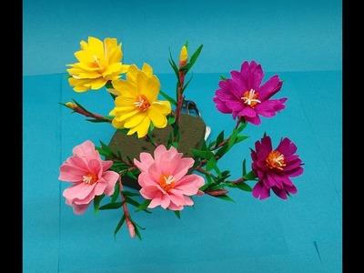 How to make Paper Flowers Moss Rose.Portulaca (flower # 208)