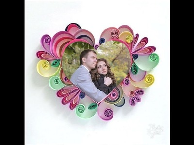 How to make Paper quilling photo frame. .  valentine's special