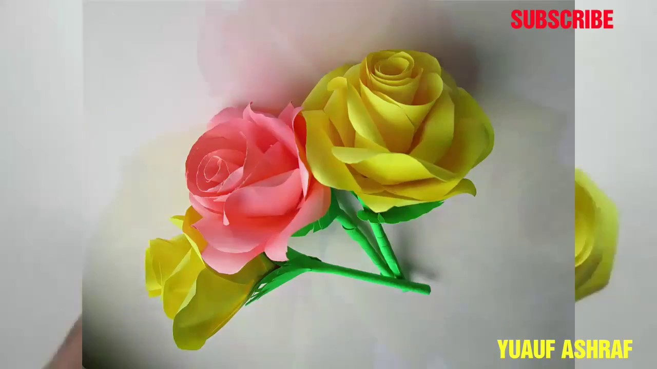 How To Make Paper Rose Flower Very Easy Hd Flowers Healthy