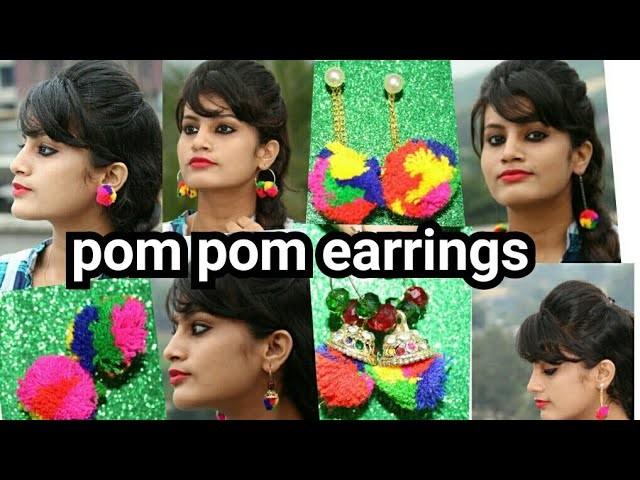 How to make pom earrings DIY POM POM EARRINGS|6 easy ways in Hindi at home