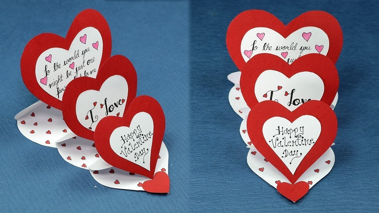 How to Make Triple Easel Heart 'I Love You' Card by hand made