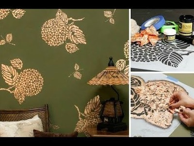 How to Stencil Gold Metal Leaf Wall Art with Flower Stencils