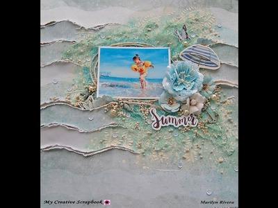Shabby Chic-Mixed Media Beach layout for My Creative Scrapbook