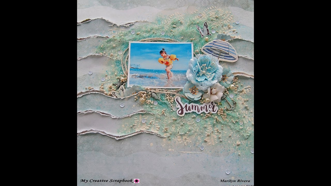 Shabby Chic-Mixed Media Beach layout for My Creative Scrapbook