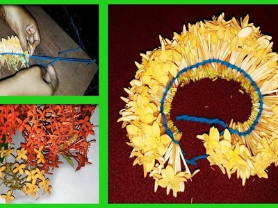Stringing flowers | How to string Idly poo ( one colour )