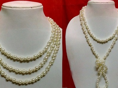 #22 How to Make Pearl Beaded Necklace || Diy || Jewellery Making