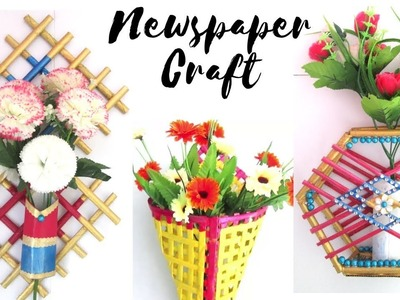 3 DIY News Paper Crafts  Best Out Of Waste with Newspaper  Newspaper  Craft Ideas