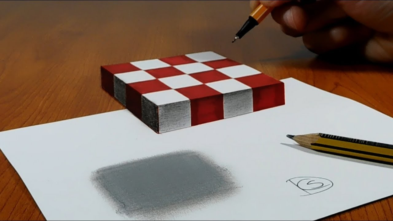 Papel 3d Trick Art On Paper Floating Chess Floral