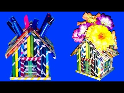 Creative Recycled Newspaper Pen stand.Flower Vase || DIY Unique Designed Paper Roll Craft