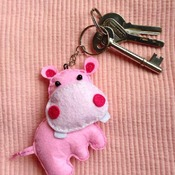 Cute Hippo Animals Stuffed Felt Key Chain Key Ring With or Without Colorful Personalised Words Beaded Craft Kids Friend Gift Toys