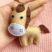 Cute Horse Animals Stuffed Felt Key Chain Key Ring With or Without Colorful Personalised Words Beaded Craft Kids Friend Gift Toys