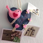 Cute Pink Bird On Blue Jean Love Memo Photo Hanging Ornament Clothes Pin Stuffed Felt Craft Wall Decor Gift