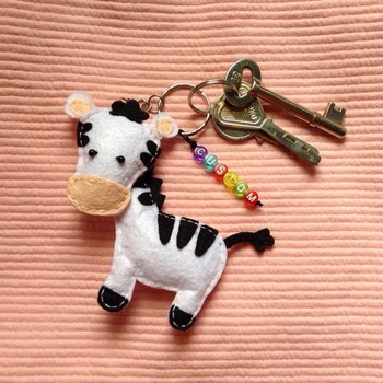 Cute Zebra Animals Stuffed Felt Key Chain Key Ring With or Without Colorful Personalised Words Beaded Craft Kids Friend Gift Toys