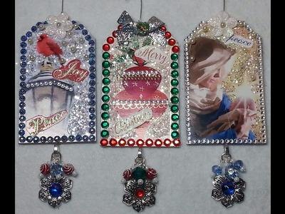 DIY~Beautiful & Sparkly Dollar Tree Christmas Card Tag Ornaments!
