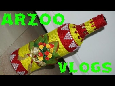 DIY Beer ???? bottle decor  || Yarn Wrapped glass ???? bottle || Recycled Crafts || ARZOO VLOGS