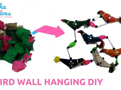 DIY Bird Wall Hanging for Home Decoration from Waste Old Clothes