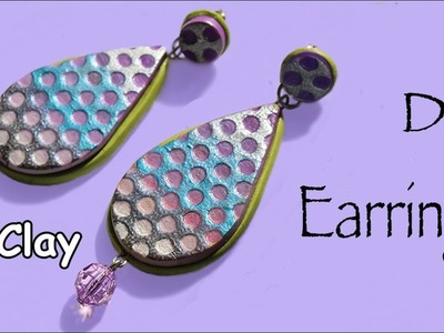 DIY Earring with a grid effect - Polymer clay jewelry