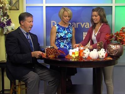 DIY Fall Decor - Toilet Paper Roll Pumpkins, Sequin Polka Dot Pumpkins, and Candy Corn Yarn Letters
