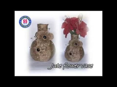 DIY.How to make decorative flower vase from jute.Card board and jute vase