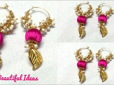 DIY.How to Make Silk thread Hoop Designer Hangings.Earrings.Latest Bollywood Designer Hangings .