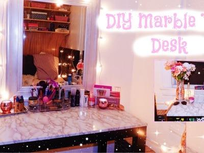 DIY Marble Desk Top! Marble Contact Paper Desk | Takisha Etienne