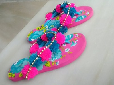 DIY POM POM SANDALS.HOW TO MAKE EASY POM POM SANDALS AT HOME.HOW TO DECORATE SANDALS.ART WITH ALIYA