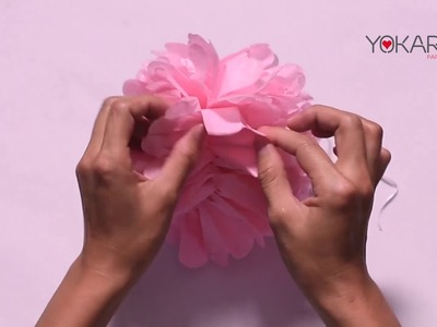 DIY Pom Pom Video Tutorial - How to make perfect tissue paper flowers in under 5 min