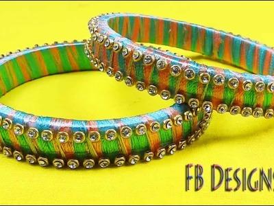 DIY silk thread bangles mixed thread with stones   Latest Bangle designs for Fashion week 2017
