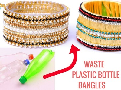 DIY Silk Thread & Chain Bangles   Waste Plastic Bottle   DIYCrafts India #81