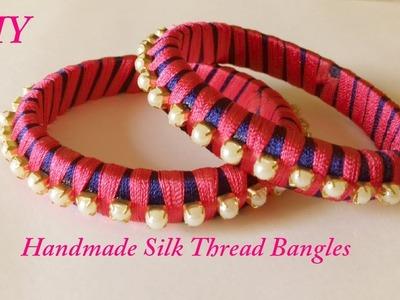 DIY || Two colour silk thread bangles !! || How to make silk thread bangles at home