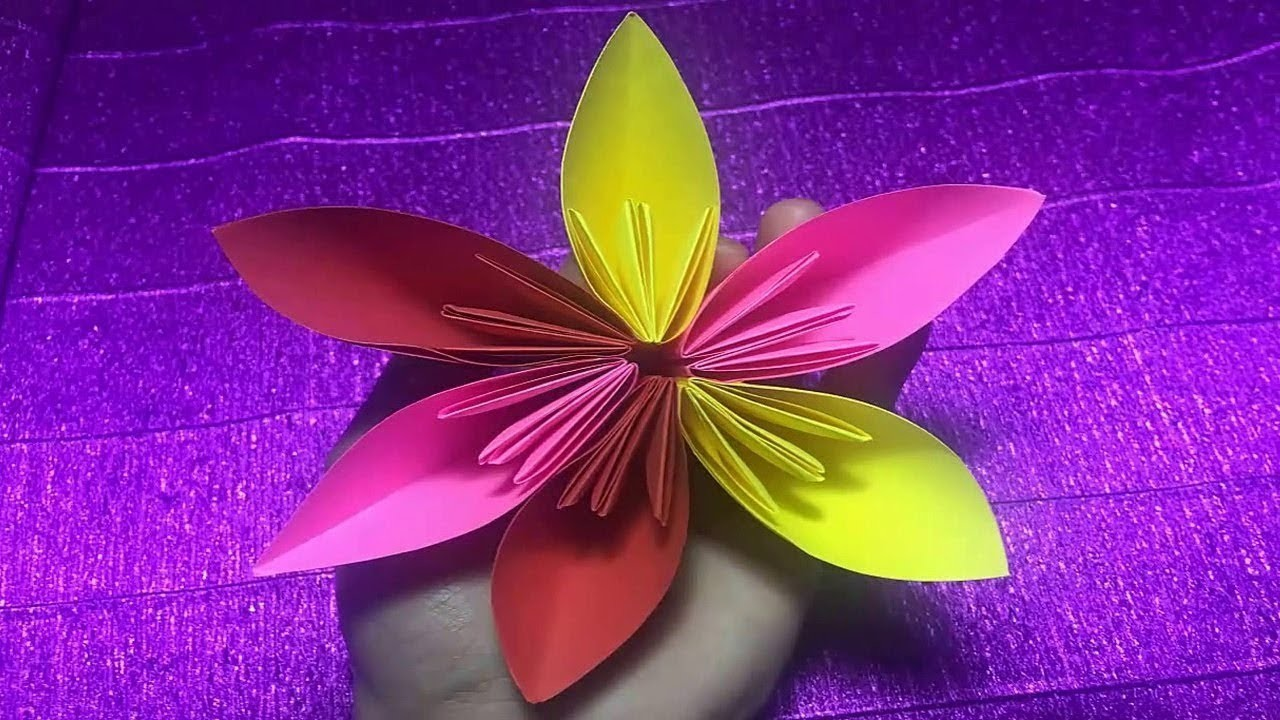 How to make 6 petal hand cut paper flowers origami flower for Easy paper cutting flowers