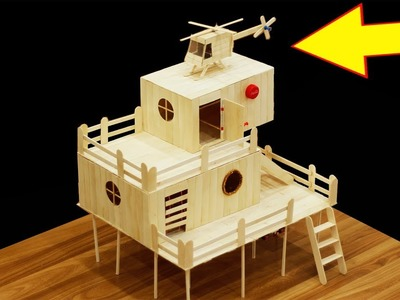 How to Make  a Popsicle Stick House for Hamster - House DIY Crafts - House for Rat, Mouse
