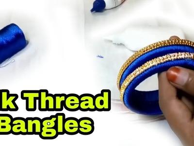 How to make designer silk thread fancy side model || DIY ,Silk Thread Bangles