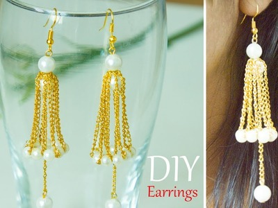 How to make Golden earrings | DIY easy and quick jewelry