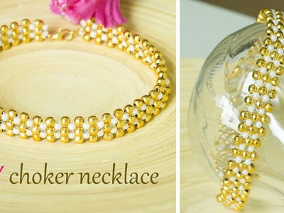 How to make pearl and gold choker necklace | Easy and quick DIY collar necklace