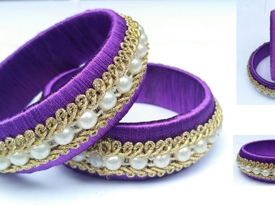 How To Make Silk Thread Lace Bangle. DIY Party Wear Silk Thread Bangle Making at Home