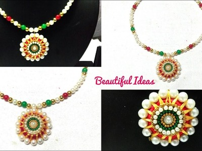 How to Make  Silk thread Pearl Designer Necklace &Pendent.DIY.Pearl Designer Necklace.Choker Design