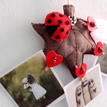 Ladybug On Autumn Leaf Memo Photo Hanging Ornament Clothes Pin Stuffed Felt Craft Wall Decor Gift