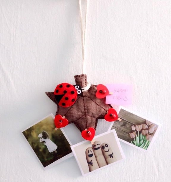 Ladybug On Autumn Leaf Memo Photo Hanging Ornament Clothes