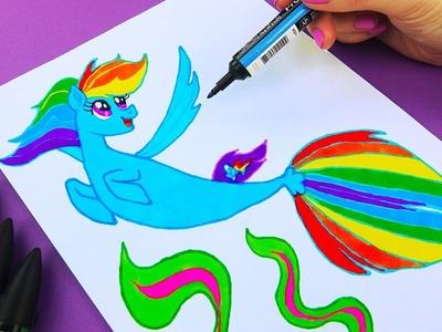 Rainbow Dash Sea Pony from My Little Pony Movie | How to Draw Rainbow Dash Mermaid