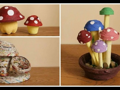 Recycle Mushroom themed DIY (Paper Weight, Decor, Piggy Bank, Pen Holder  )