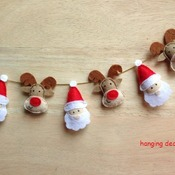 Set of 6pcs Cute Mini Christmas Santa Claus Reindeer Rudolph Stuffed Felt Gift Hanging Ornament Decoration