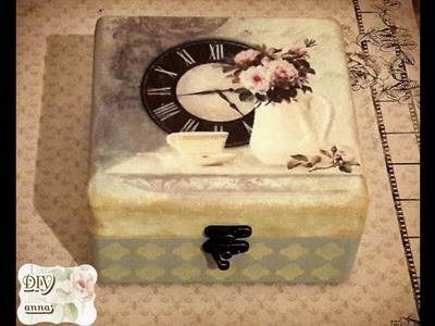 Vintage decoupage box with rice paper and stencil