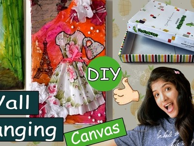 Wall hanging Canvas with a cardboard box| DIY | Room Decor| Mom Artistry