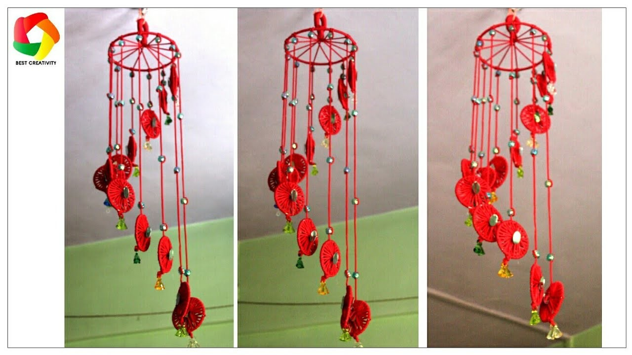 Windchime hanging using waste bangles best out of waste for Waste out of best from bangles