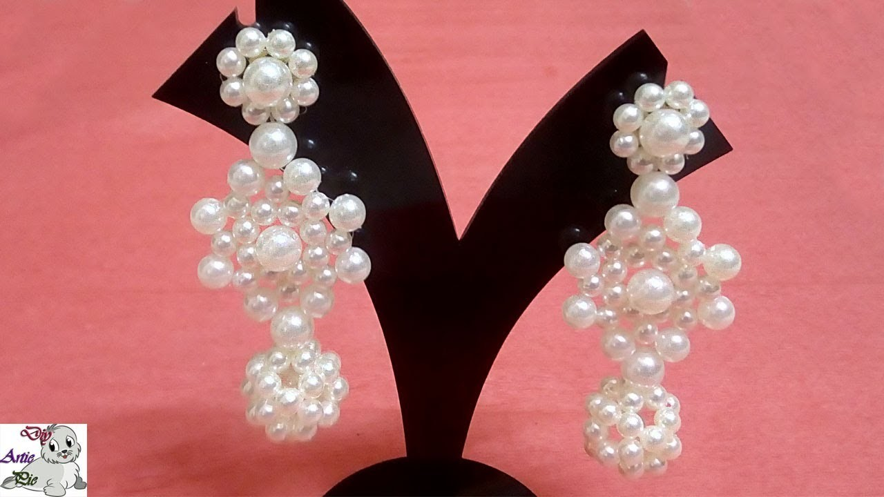 #21 How to Make Pearl Beaded Earrings || Diy || Jewellery Making