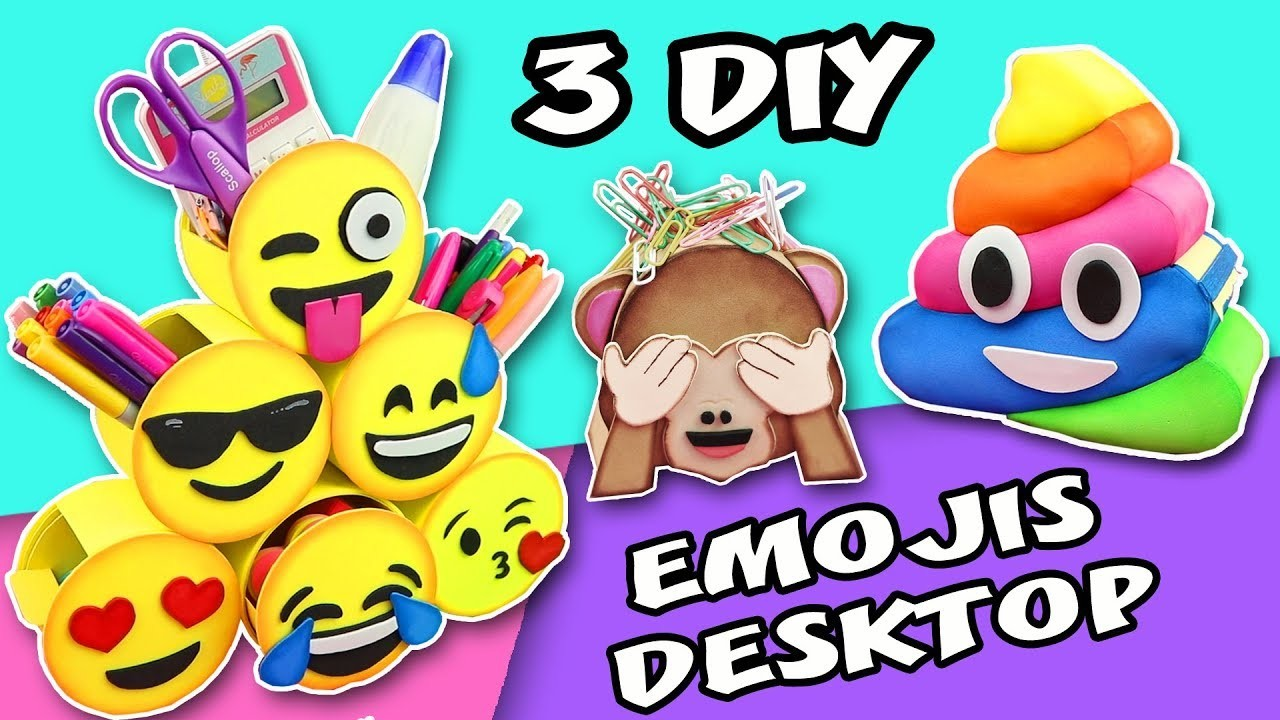 3 DIY EMOJIS DESKTOP - BACK TO SCHOOL - ORGANIZER SCHOOL SUPPLIES | aPasos Crafts DIY
