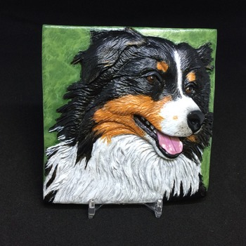 Aussie the Australian Shepherd ~ Relief Wall Art ~ Handmade/Hand Painted in Polymer Clay