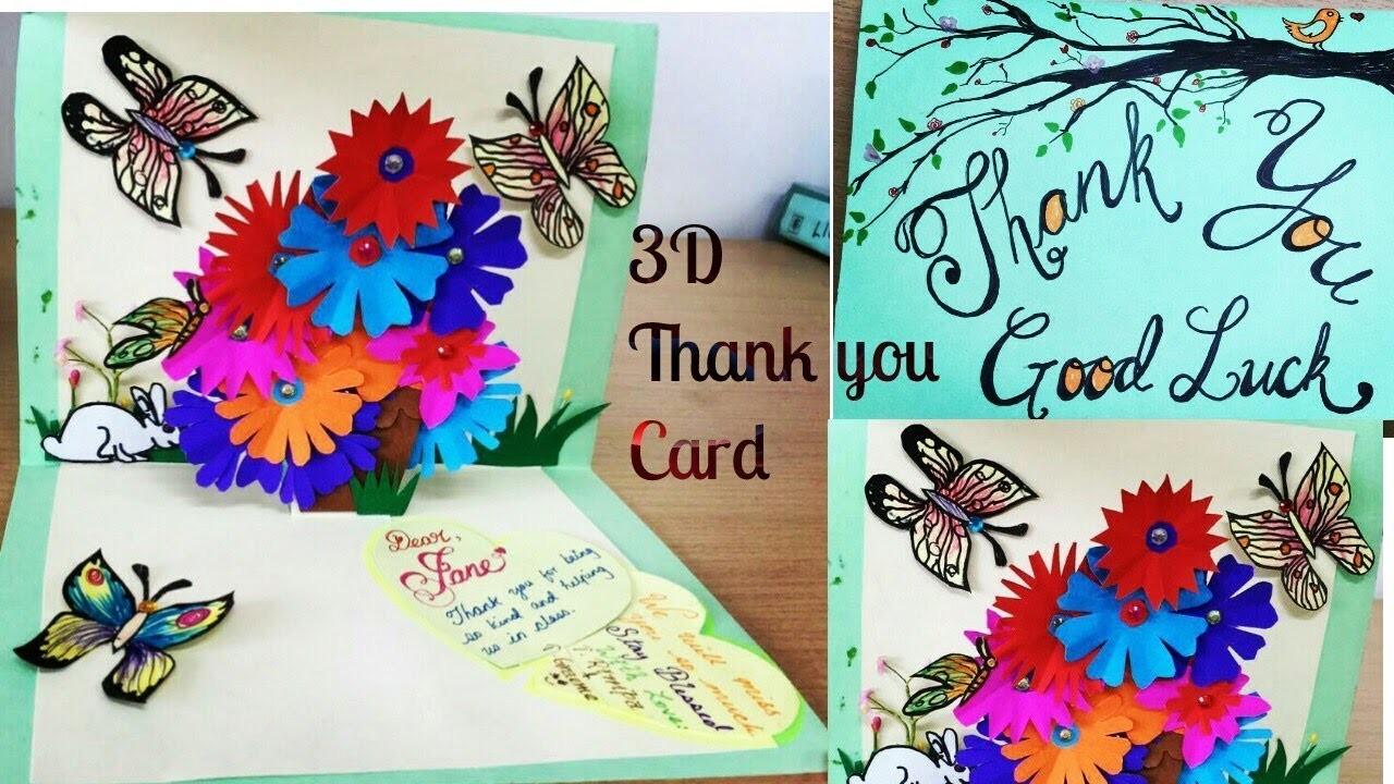 diy 3d flower popup card thank you  good luck card