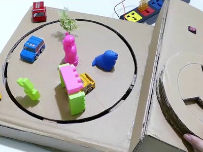 DIY a track car with magnets Desktop Game from Cardboard magnets  at Home - drngo